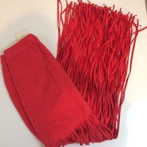HM Coachella Red Fringe Faux Suede Skirt 2